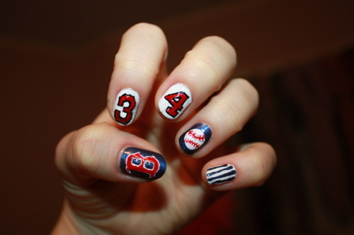 Red Sox Game Day Nails On Saturday, my sister Rachel (of Mercier Beaucoup) treated my whole family to a Red Sox game in honor of Mama's Day!! Her boyfriend hooked us up with some siiick tickets right behind home plate. Needless to say, he's a keeper! So, for my first game of the season, I decided to rep #34, the one, the only: Big Papi! He didn't play in the game, but David Ortiz is a BOSS. So… whatever, I had to. Another thing I had to do? Represent the team's official sponsor and sport my Budweiser dress! My sister said I looked like Christina Applegate as Kelly Bundy from Married With Children, which I looooved! I could not have been more flattered, IF I tried. On Sunday, Rachel made the most delicious french toast and fruit salad for brunch. Then, Kelsey and I went shopping for her college graduation outfits! I always love to see my sisters, and it's always hard to say goodbye. Well, my lovlies, that's all for now. I'm finished with finals on Wednesday, so I can't promise much before then, but I'll surely try. I cannot waaait to legitimize my nail art business this summer, and I appreciate your support now more than ever! ♥ Zebber  From Left: Jim (papa), Candy (mama), Zebber, Kelsey, Andy, and Rachel.   Me in my Budweiser dress. Drink it in.  Me, Kelsey, Mama, and Rachel. Posing with the inaugural street sausage.