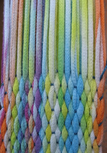 daintyloops:  Closeup Weaving with a Tie-dye T-Shirt (by ASpinnerWeaver)