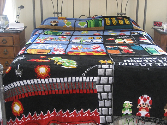 zombievoltaire:  Crochet Mario blanket on bed by Gege_Crochet on Flickr.
