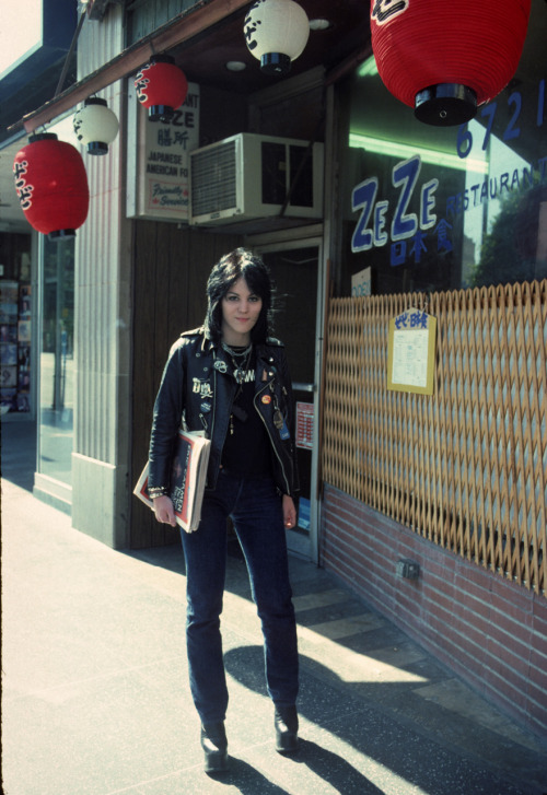 My favorite Joan Jett photograph that I took on Hollywood Blvd in 1977. I love the faded colors in this shot and most of all Joan's smile.  Photo by Brad Elterman