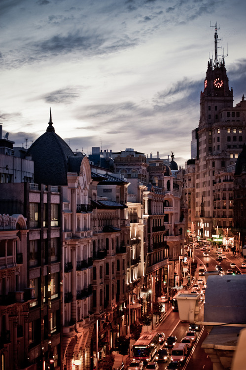 ysvoice:  | ♕ |  Madrid at dusk  | by Andres Valdaliso | via sunsurfer