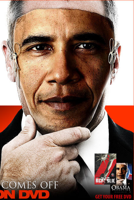 This is the cover poster for the movie The Obama Deception. It is a really informative documentary that basically revolves around Obama's connections to the Elite and the fact that he's just a puppet for them just like the prior United States President; George W. Bush. The picture depicts a white male representing the 43rd president, wearing a mask of Obama's face. In other words, Obama is exactly like Bush. The change he promised was a lie. Click picture to see trailer.