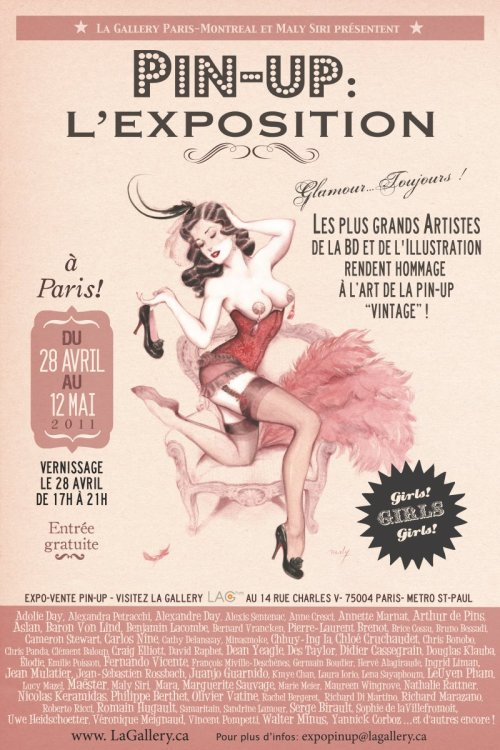 Exhibit of pinup art in Paris till May 12th. I'll be going to this! Go to La Gallery website for details.