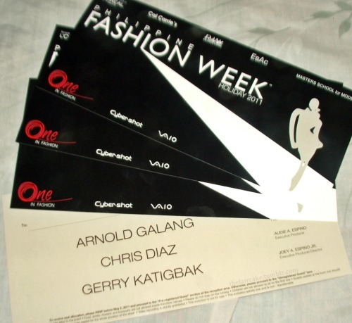 Win these 2 extra invites for the Arnold Galang Collection for Philippine Fashion Week TOMORROW! cause my friends will not able to attend the Fashion Show. So, I'll just share it to you guys. - You MUST be following me at http://thefaircake.tumblr.com/ You MUST reblog this post.  - I will pick two winners TONIGHT at 10PM. I will contact you via ask so you MUST have your ask turned on by then. Still have 3 hrs to do this! COME ON! :D