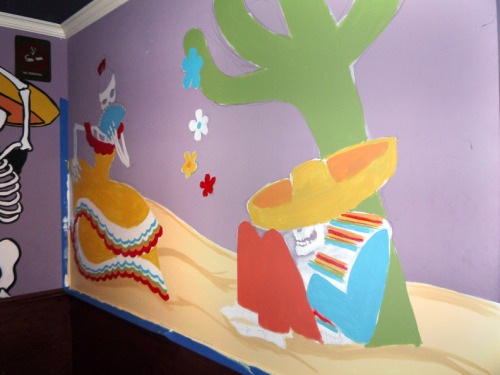 """Day Of The Dead Mural Part III (preliminary)"" Wall mural for Mexican restaurant NYC. ©2011 thebrokenart"
