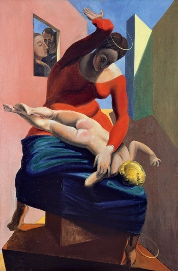 "The art: Max Ernst, The Blessed Virgin Chastises the Infant Jesus Before Three Witnesses: Andre Breton, Paul Eluard and the Painter, 1926. The news: ""Pitzer College in California Adds Major in Secularism,"" by Laurie Goodstein in the New York Times. The source: Collection of the Museum Ludwig, Cologne."