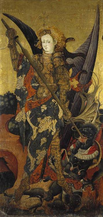 dovesforfeet:   Gonzalo Perez Saint Michael Vanquishing the Devil Early 15th Century