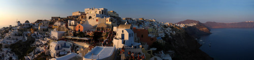 Sunset in Oia, Santorini, Greece Panoramic