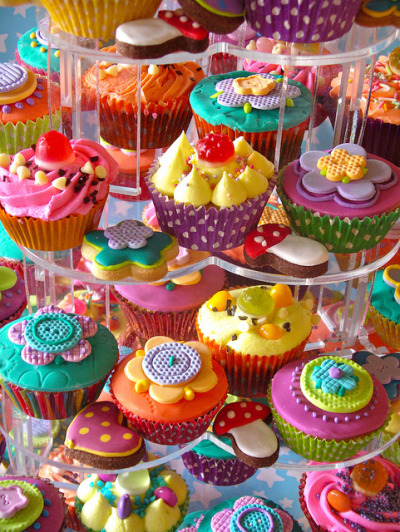 Candy cupcakes and cookies by nice icing on Flickr.