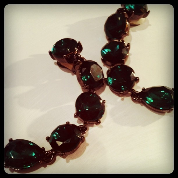 emerald linked crystal drop earrings (Taken with instagram)