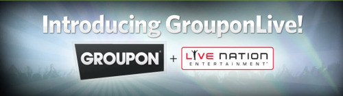 Live Nation & Groupon partner up to launch GrouponLive, a new site for ticketing deals.  In addition to music concerts, GrouponLive will also sell discounted tickets to  sports events, theater, arts and other live events.