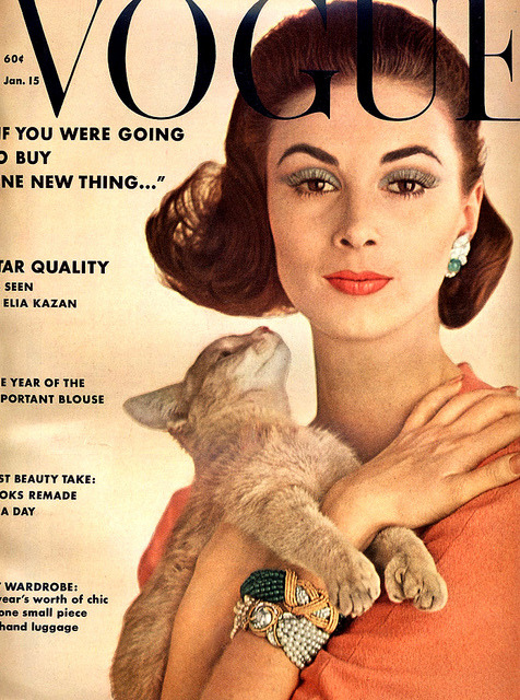 Cat chic. Model Wilhelmina Cooper on the cover of Vogue in 1962.