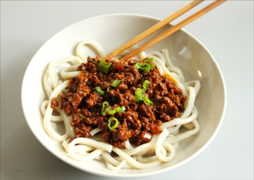 Noodles in a Spicy Pork Peanut Sauce