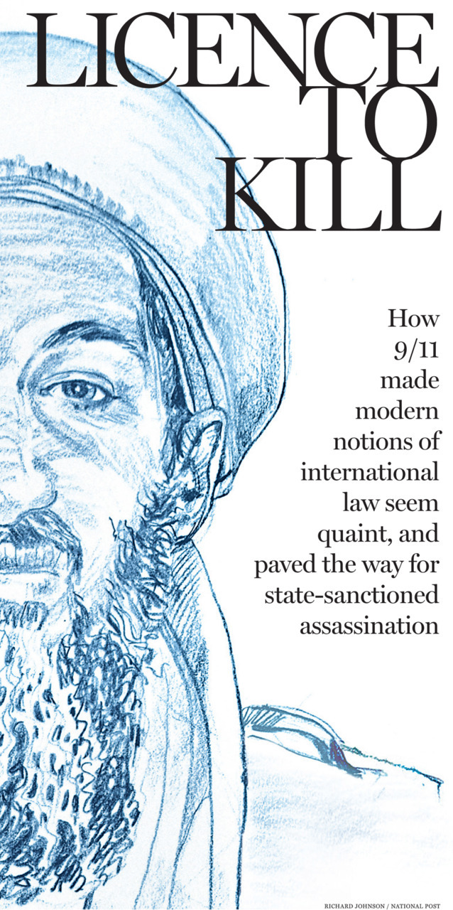 "Jonathan Kay: Bin Laden's killing shows us the irrelevance of ""international law""This past week, the NDP's Thomas Mulcair became a figure of ridicule for suggesting that the United States doesn't have photos of Osama bin Laden's body — presumably, in his imagination, because the al-Qaeda leader isn't really dead. But Mr. Mulcair made another interesting comment about the U.S. raid, which did not get as much attention: ""We have to understand whether or not there was an action of self defence or whether there was something that was more in the style of a direct killing and that has to do with American law and with international law as well.""The idea that the legitimacy of this brilliantly executed American raid might be cast into doubt by the dogmas of ""international law"" can only be described as quaint — the sort of debating point that would have been taken seriously when the Twin Towers were still standing. In 2011, it sounds only slightly less marginal than the idea that bin Laden still walks the earth.The exact moment when we knew ""international law"" had little to say about the war against terrorism came on November 3, 2002. That was the day an American Predator drone, flying high above the Yemeni outback 100 miles east of Sanaa, fired a Hellfire missile into a car containing al-Qaeda's local commander, Abu Ali al-Harithi, and five jihadi comrades. Photos of the scene show a black hole in the ground where the car once stood — a suitable metaphor for the once-fashionable notion that ""international law"" trumps a nation's right to defend itself. (Illustration: Richard Johnson/National Post)"