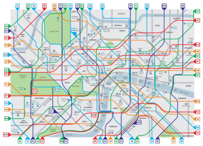 London Cycle Map (Cycle Lifestyle), color-coded tube-style map of London's cycling network via Mapping London