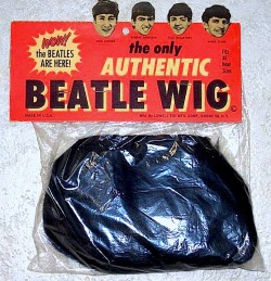 "holdentumbrl:  ""The only Authentic Beatle Wig"" shown at left came out in the mid 1960's and was manufactured by the Lowell Toy Mfg. Corp. of Bronx, NY."