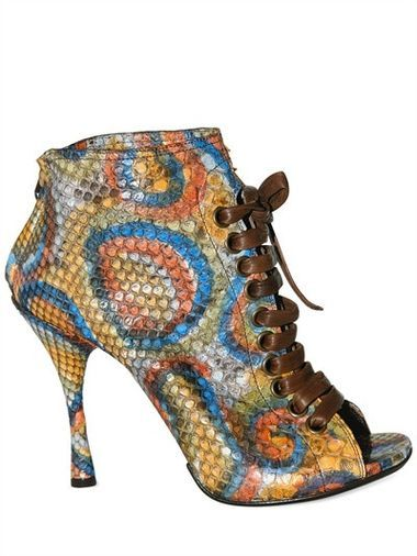 GIANNI BARBATO 100MM PYTHON LACE UP LOW BOOTS SPRING SUMMER 2011 WOMEN SHOES BOOTS