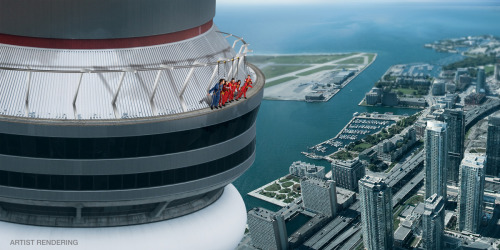 "nationalpost:  New CN Tower attraction to offer hands-free, outside pod walkExtreme junkies take note: you'll soon be able to take a hands-free walk along the outside of the CN Tower's main pod — 356 metres up in the air.EdgeWalk is billed as the highest full circle walk on a 1.5-metre ledge in the world.Similar to another attraction in Auckland, New Zealand, visitors will be attached to an overhead safety rail with a trolley and harness system and will travel in groups of six to eight.""I'm trying to psych myself up slowly to try this. It will be on my bucket list,"" said Mark Laroche, president and CEO of the Canada Lands Company, owner and operator of the CN Tower."