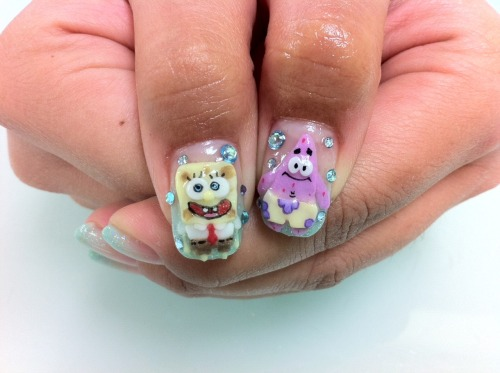 My new nails! Spongebob and Patrick :D