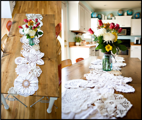 magonnaise:  Here is another crafty way to use doilies this time by making your own lovely table runner. Click the photo for the how to instructions.
