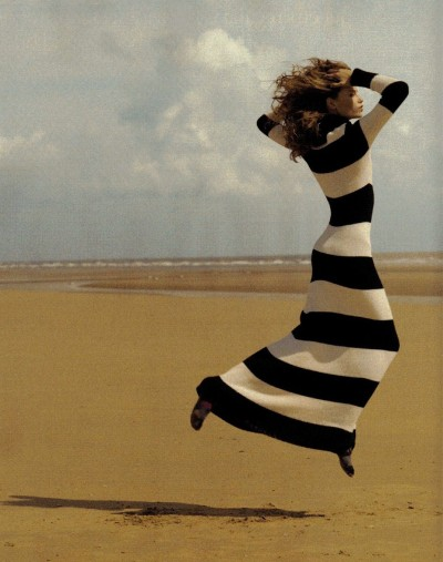 On the beach in stripes by Cedric Buchet