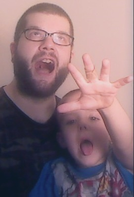 My son Daniel and I having fun with my facebook Profile picture.