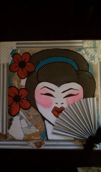 Geisha. Artist: AshleyMariexo Media: Acrylic and decopadge on wooden framed tile.