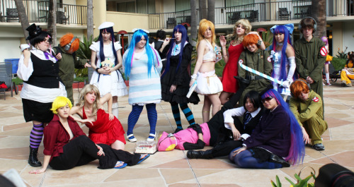 I recently saw a post of a really bad Panty & Stocking cosplay and recognized the cosplayers which is an insult to the term cosplay from this year's Anime LA. I didn't ask them for a picture because my papa let me borrow his fancy camera for the con and I didn't want to fill it with… that. But I did get a group shot of the gathering. My favorite is the Fastner. He's just passed out on the floor and he looks better than all dem wapanese.