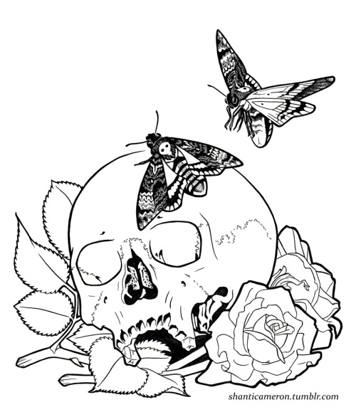 This will be awesome with color and shading. Red roses, of course.  <3  Done with India ink and a single 6/0 brush.