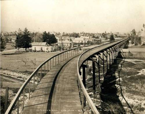 piware:  This is what a Los Angeles bike path looked like in 1900  Before it became a freeway.  The plan was to start the path at the Green Hotel in Pasadena and end in Downtown Los Angeles, with nothing more than a 3% grade at any one point.  Smooth sailing for all those Edwardian Californians who would suit up in hats, ties, and ankle-length dresses, hop on a bicycle and pedal into that great 19th Century outdoor craze.  Here's old Horace Dobbins, the creator of the CycleWay and former mayor of Pasadena, in an apparent moment of ideological self-destruction:   is that a CAR on your bike path, sir?   Check out this terrific blog entry, which will give you more detail about the CycleWay, including a GoogleMap.