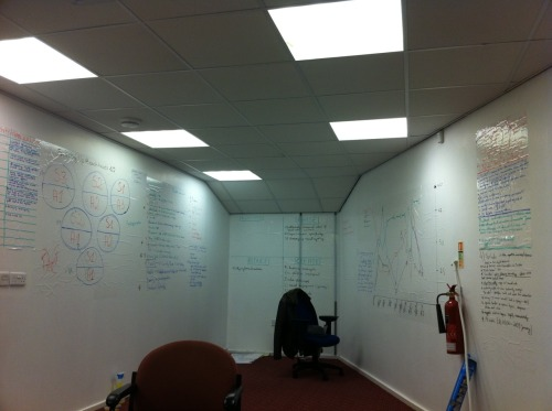 Pinevio's brainstorm wall at The Difference Engine office (January-March 2011)
