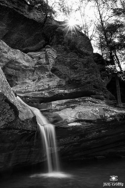 Cedar Falls Sunrise Black and White by Jim Crotty.jpg on Flickr.April sunrise at Cedar Falls. #hockinghillls
