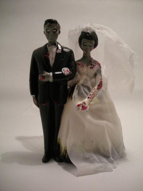Vintage-style Zombie Wedding Cake Toppers by Beeloverly at Etsy