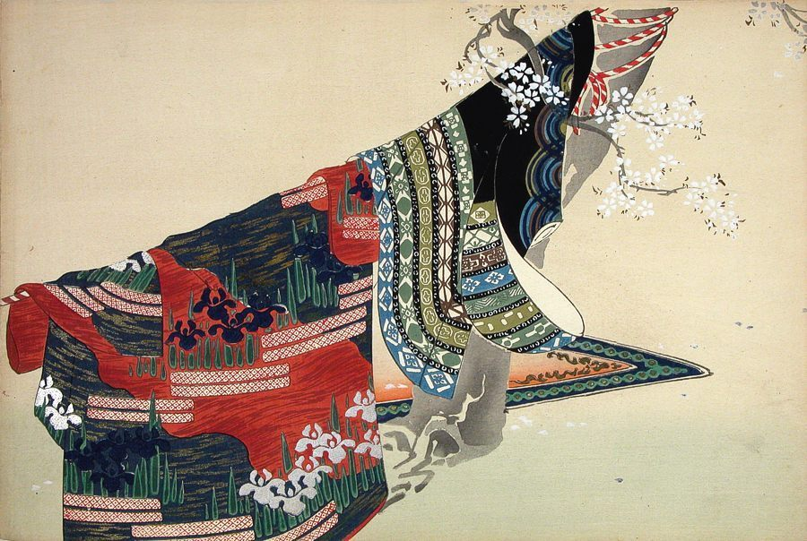 Kamisaka SEKKA (1886 - 1942) Kimono airing under a cherry tree From here