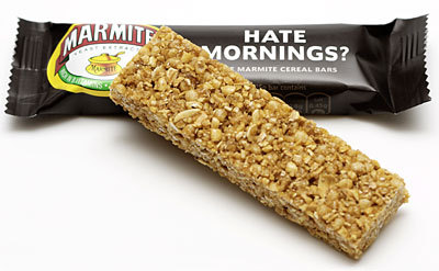 Marmite Cereal Bars! Info from the Marmite site, and a review. …what? I think it's an excellent idea.