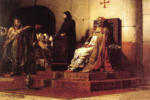 "Source:  Cadaver Synod http://en.wikipedia.org/wiki/Cadaver_Synod ""The Cadaver Synod (also called the Cadaver Trial or, in  Latin,  the Synodus Horrenda) is the name commonly given to the  posthumous ecclesiastical trial of Catholic Pope  Formosus, held in the Basilica of St. John Lateran in  Rome  during January of 897. ""Before the proceedings the body of Formosus was exhumed and,  according to some sources, seated on a throne while his successor, Pope Stephen (VI) VII, read the charges against him (of which Formosus was found guilty) and  conducted the trial. The Cadaver Synod is remembered as one of the most  bizarre episodes in the history of the medieval  papacy. ""Formosus was accused of transmigrating sees in violation of canon law,  of perjury, and of serving as a bishop while actually a layman.  Eventually, the corpse was found guilty."" Jesus, this might be the weirdest history of all.  Thank God this corpse was convicted so it couldn't hurt anyone anymore. Caption:  Jean-Paul Laurens, Le Pape Formose et  Étienne VII (""Pope Formosus and Stephen VII""), 1870.  Makes you wonder if all those guys in the background realized how fucking crazy this was."