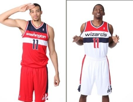 "Wizards' New Uniforms Perfect Except For The Word ""Wizards"" On the Front. Rumors have been flying for a while now that the Washington Wizards were going to go back to their old color scheme, from when they were the Bullets.  And today, they confirmed those rumors with these new and most excellent uniforms. But man oh man, that team nickname looks more pointless and out of place than ever.  DITCH IT, TEDDY.  -DM [DC Sports Bog]"