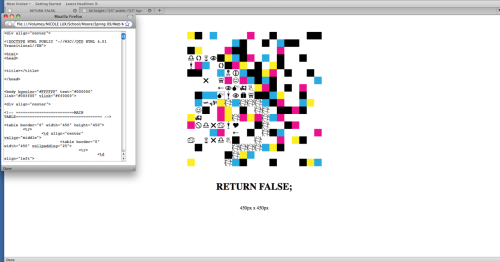 Coding as an art formWebsite Design Developed a layout influenced by CMYK and graphical elements. Each individual block of color is an individual interactive rollover. Upon first rollover the color blocks change to a simple cross-hatching pattern. Next, if you click the rollover will change to various graphical elements. - The more you rollover the more interactive the site becomes. - shown with this is the pop-up window that shows the coding that was used. This project became a tutorial for my class and there are multiple variations using different coding.