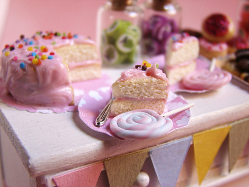 Miniature Food - Birthday Party by PetitPlat Food Art - Stephanie Kilgast on Flickr. Happy Birthday to this Tumblog! One year ago I started this blog, kind of on a whim but mostly because it was a thought that would not leave my mind and I had to get rid of it. Seven hundred posts later (plus a few), here we are. Many, many thanks to MetaFilter, who inspired me to make this and have been a core following throughout. Thought I would commemorate this occasion with something from PetitPlat, the greatest miniature food artist of our time. Be sure to check out her Flickr (where most of her pics are creative commons licensed) and etsy where you can purchase many of her wonderful creations. I hope you are enjoying following my brain crack! If you want to tell your friends, please do, I would love more followers. As a gift to myself for making it through a whole year, I am taking two weeks off. I'm going away on vacation. Maybe I will find mini things to bring back for you! In the meantime, have fun looking through the archive, and if you've got any ideas for posts, please submit them!
