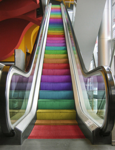 happyhues:  Rainbow escalator! Where is this?! (via we heart it)