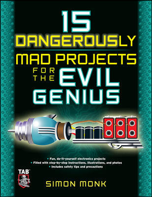 "15 Dangerously Mad Projects for the Evil Genius by Simon Monk is the Dangerous Book for Boys for technical hobbyists and makers! Or, to be more specific, mischief makers. Inside you'll learn how to build a pistol-sized electrical coil gun that fires a small metal projectile up to 30 miles per hour. Listen to your mother: do not point this at your little brother's face. Nor should you aim the medieval trebuchet you'll learn how to build at neighbors or family members. The insanity doesn't end there. The author will show you how to tear apart a leaf blower and turn it into a machine gun for ping pong balls. A radio bug, a laser voice transmitter, a laser-grid intruder alarm, a flash bomb, and many more DIY projects round out this handbook for mad-scientists-in-the-making. If it all sounds like lots of fun (until someone loses an eye), but you're a little worried about your electronics skills — fear not! In his quest to spread mad science throughout the world, author Simon Monk has included an ""Electronics Construction Primer"" to get you started! As if all that weren't enough, you'll also learn how to work with the popular Arduino microcontroller board."