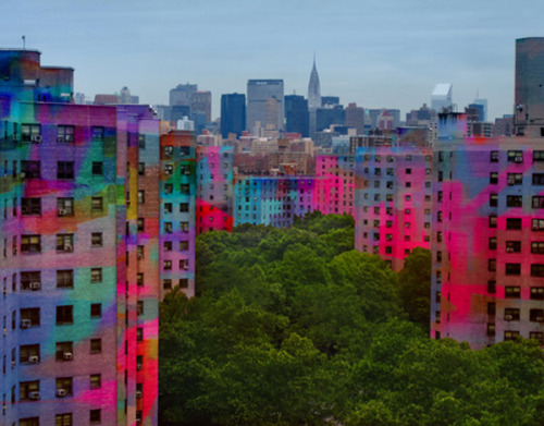Curious what NYC's low-income red-brick housing would look like with a neon paint job? Dutch artists Haas&Hahn, who create large-scale murals in favelas, have it covered! More over here.