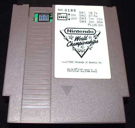 Ebay User Selling NES Cartridge for $6500  The Nintendo World Championships was an event hosted by Nintendo back in 1990 that spanned nearly 30 American cities and pitted gamers of all ages against each other in three different games: Super Mario Bros, Tetris, and Rad Racer. A player's final score would be determined through this formula: (Super Mario Bros score) + (Rad Racer score x 10) + (Tetris score x 10) [Wikipedia].  Anyway, the cartridges for Nintendo World Championships are extremely rare and very hard to come by. The cartridges can go from a couple thousand dollars all the way up to $20,000 for the gold cartridge. The cartridge in question is just a standard grey cartridge and is currently being sold for $6500.  You can check out the Ebay listing here.  (via: VGN)