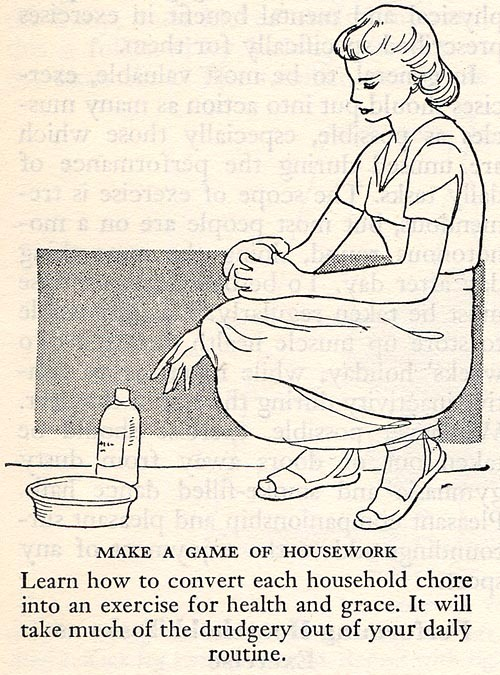 theniftyfifties:  Make A Game Of Housework!  From The Pictorial Medical Guide, 1953.