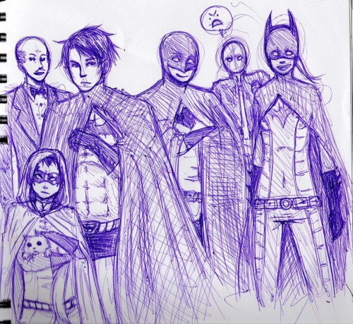 Redonk old sketch of Batfam minus Bruce. D;>