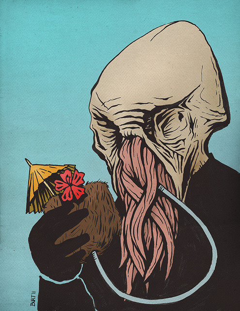 An illustration I did of an Ood enjoying some R&R. Gotta love Doctor Who.