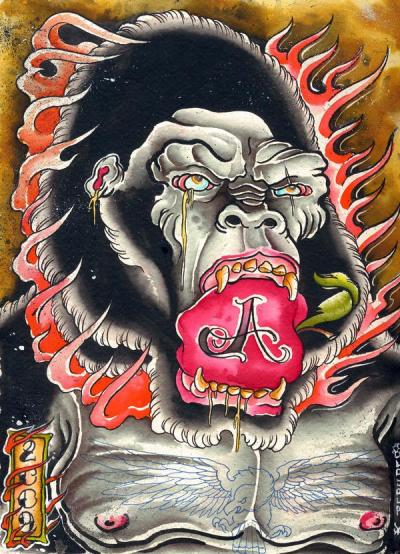 apeshit water color on paper Kevin Berube art for life tattoo sharktanktattoo.tumblr.com