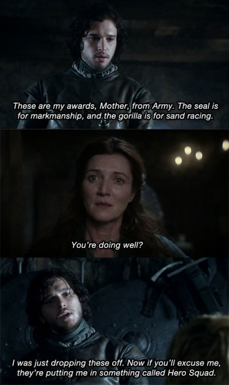 arrestedwesteros:  Buster: These are my awards, Mother, from Army.Lucille: You're doing well?Buster: I was just dropping these off. Now if you'll excuse me, they're putting me in something called… Hero Squad.  Afternoon Delight - 2x06