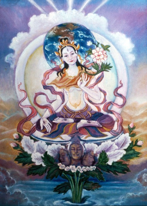 "White Tara (Sanskrit: Sitatara; Tibetan: Sgrol-dkar) is sometimes called the Mother of all Buddhas and she represents the motherly aspect of compassion. Her white color signifies purity, wisdom and truth. In iconography, White Tara often has seven eyes – in addition to the usual two, she has a third eye on her forehead and one on each of her hands and feet. This symbolizes her vigilance and ability to see all the suffering in the world. The ""Tara of Seven Eyes"" is the form of the goddess especially popular in Mongolia. White Tara wears silk robes and scarves that leave her slender torso and rounded breasts uncovered in the manner of ancient India. Like Green Tara, she is richly adorned with jewels. White Tara is seated in the diamond lotus position, with the soles of her feet pointed upward. Her posture is one of grace and calm. Her right hand makes the boon-granting gesture and her left hand is in the protective mudra. In her left hand, White Tara holds an elaborate lotus flower that contains three blooms. The first is in seed and represents the past Buddha Kashyapa; the second is in full bloom and symbolizes the present Buddha Shakyamuni; the third is ready to bloom and signifies the future Buddha Maitreya. These three blooms symbolize that Tara is the essence of the three Buddhas. In religious practice, White Tara is believed to help her followers overcome obstacles, espeically those that inhibit the practice of religion. She is also associated with longevity. by Suzanne Deveuve"