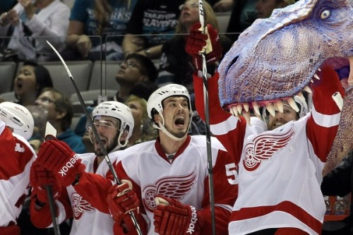 Jonathan Ericsson watches as Niklas Kronwall is eaten by a Trex!